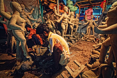Preparation for Kali Puja : Potuapara, Kolkata [ Color Version ] (Sukanta Maikap Photography) Tags: street india streetphotography diwali kolkata calcutta westbengal kalipuja dipabali tokina1116f28 potuapara goddesskaliidols clayidolshalffinishedidols unfinishedkaliidols canon450dtokinaatxprosd1116mmf28ifdx
