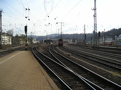 Trackwork Koblenz (Concorps) Tags: railroad travel vacation river germany deutschland landscapes scenery sony transport scenic eisenbahn rail railway trains german valley gorge  bahn rhein  rheinland pfalz tal spoor koblenz boppard spoorwegen           olympusx350   d575z dscw220  c360z