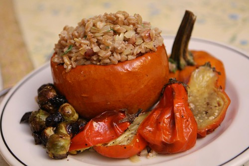 Roast Pumpkin with Bacon Sage Farro, Roasted Jiló , and Brussel Sprouts