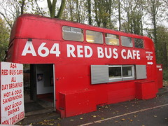 Red Bus Caf, A64, Yorkshire (Lady Wulfrun) Tags: coffee tea yorkshire leeds 1981 roadside 1980s newcastleupontyne 607 layby 2011 hotcolddrinks twpte svk607g redbuscaf
