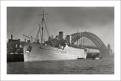 RMS Mauretania (Steve Given) Tags: ww2 1939 sydneyharbourbridge worldwartwo mauretania troopship passengerliner cunardwhitestarline