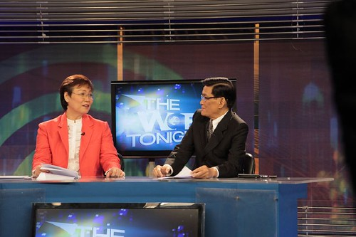Tina Monzon Palma and Angelo Castro Jr. on the set of World Tonight
