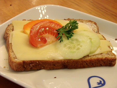 open faced cheese sandwich