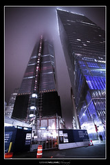 Post 9/11 Construction (Gerard P. Williams) Tags: nyc usa fog construction flag 911 twintowers