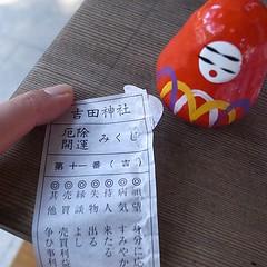 そういえば、吉田神社でのだるまみくじは吉でした。