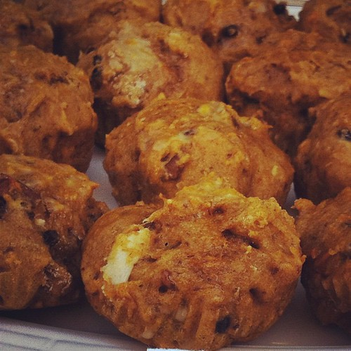 Pumpkin carrot muffins with orange glaze