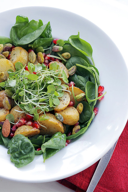 Potatoes, Watercress and Pomegranate