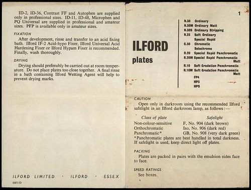 Ilford Plates leaflet - outside
