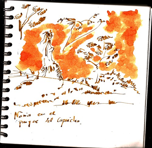 33 sketchcrawl Madrid, Bride at the Capricho garden