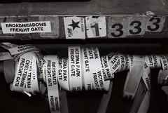 Goods shed labels (equineocean) Tags: 35mmfilm analogue tmax400 kodaktmax400 ballarat toottoot rebelg canoneosrebelg parcelsoffice 400tmx ballaratrailwaystation bifb
