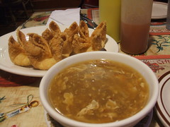 Hot and sour soup, crab rangoon