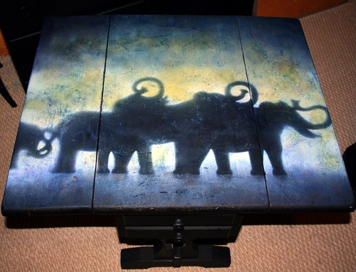 Drop-Leaf Table - Distressed for Aged Effect - Elephants by Rick Cheadle Art and Designs