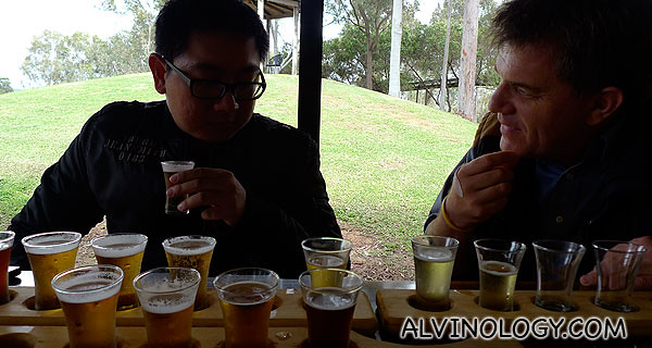 The friendly GM guiding us through each beer flavour
