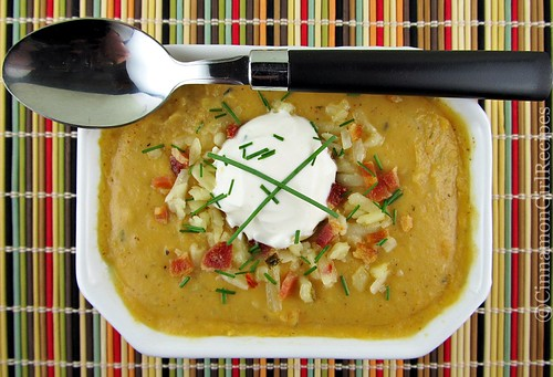 Loaded Sweet Potato Soup with Candied Bacon