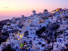 Greece : A view on Oia, Santorini (Frans.Sellies) Tags: sunset mill windmill architecture geotagged greek evening day hellas windmills cliffs clear explore santorini greece grecia gr mills griechenland grce oia cyclades thira grcia thera griekenland yunani