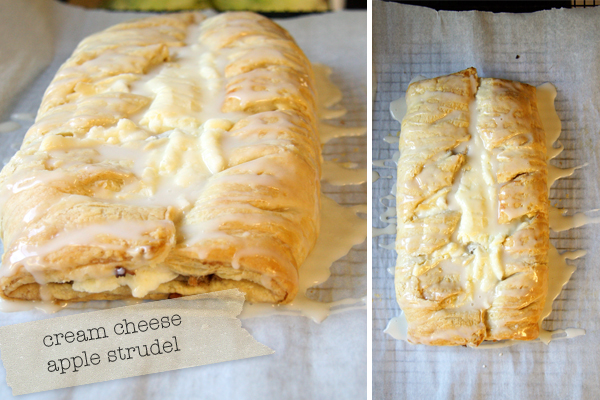 Homemade Apple-Cream Cheese Strudel