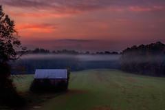 Cut Through the Morning Haze (jeffsmallwood) Tags: morning field fog barn rural sunrise dawn haze farm maryland calvert calvertcounty