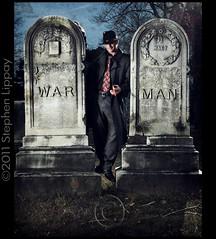 War Man (slippay) Tags: portrait music selfportrait man art grave dark corporate death tie creepy suit concept dying gravestones tool