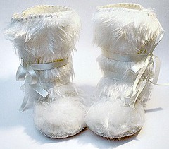 Perfect for Winter- Snow White Fur Baby Girl Boots Mukluk Style. Baby First Shoes great as a Baby Shower Gift