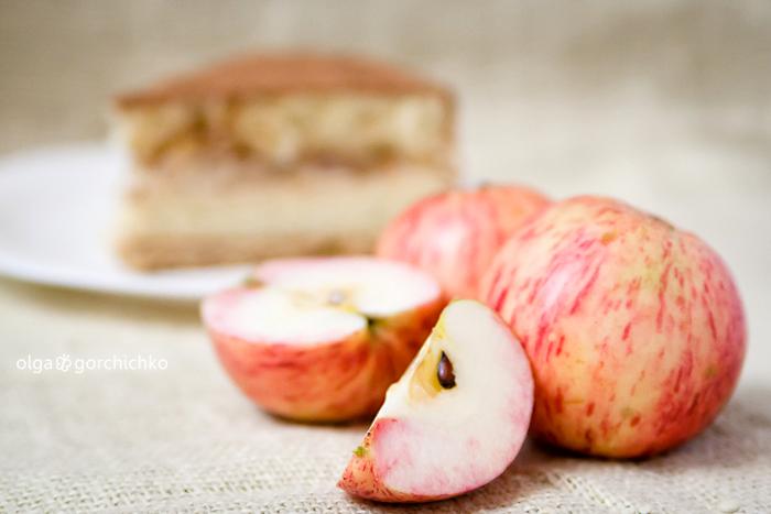 Яблочный торт с карамельным аварским муссом с корицей
