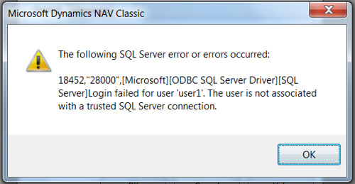 The following SQL server error or errors occurred - The user is not associated with a trusted SQL Server connection