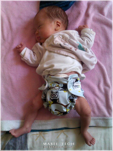 Noah in his Grovia AIO newborn cloth diaper