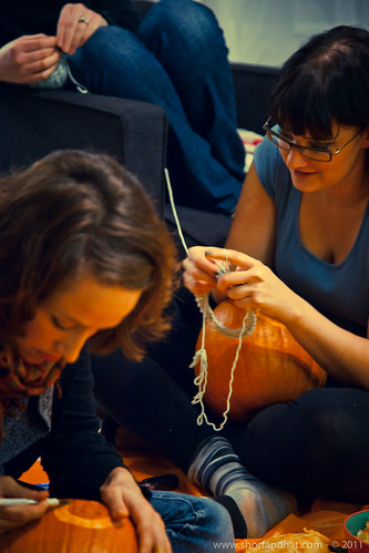 Knitting while carving
