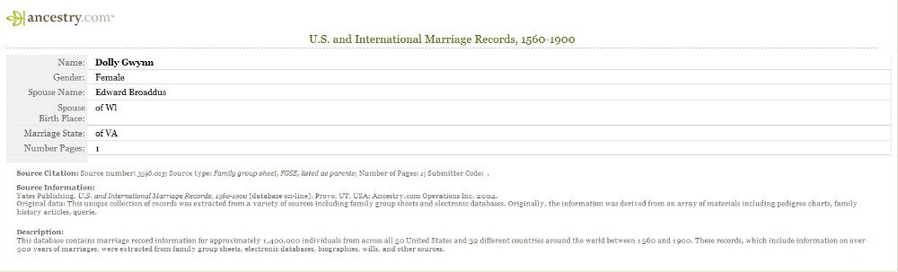 Dollwydelann Gwynn and Edward Broaddus Marriage Record on Ancestry