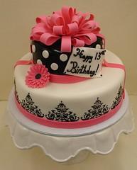 Glitz & Glam Birthday Cake (JMC Custom Cakes) Tags: birthday pink floral cake blackwhite polka bow daisy glam ribbon dots fondant buttercream glitz