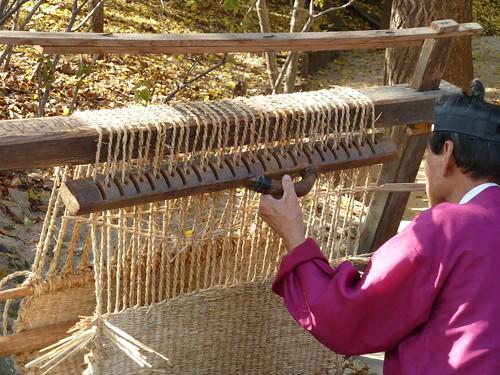 Weaving a straw mat