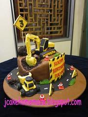Construction cake (Jcakehomemade) Tags: birthdaycake homemadecake happy3rdbirthday fondantcake noveltycake designercake 3dcake dumptruckcake constructioncake excavatorcake customizedcake vehiclecake jcakehomemadeblogspotcom transportationcake jessicalaw kidsnoveltycake laijuoweisbirthdaycake