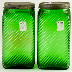 2003. Pair of Ribbed Green Glaze Jars