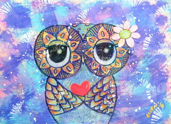 Owl Art - I Wish You Love (Udonchow Cute Owl Art And Gifts) Tags: blue love print children fun purple heart nursery lovers owl romantic etsy owldrawing owlart udonchow ellenchia cuteowlart
