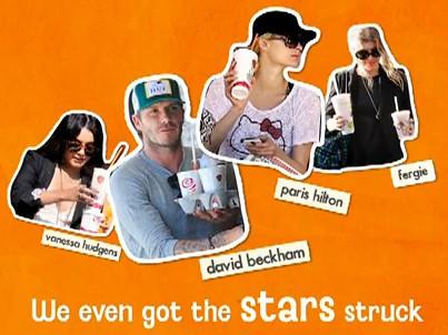 Celebrities Vanessa Hudgens, Paris Hilton, Fergie of The Black Eyed Peas and football superstar David Beckham with their Jamba Juices!