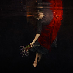 reaching the world below (brookeshaden) Tags: flowers red reflection water girl dance ballerina underwater serene whimsical fineartphotography brookeshaden texturebylesbrumes