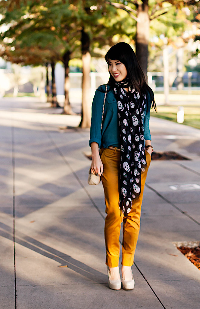 urban outfitters cooperative teal silk camp shirt, happy scarf mcqueen skulls scarf, h&m mustard trousers, ann taylor gold skinny belt, yesstyle beige quilted flap purse