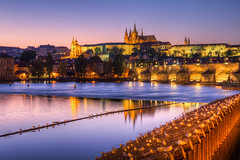 Sunset with all the birds (Miroslav Petrasko (blog.hdrshooter.net)) Tags: city bridge sunset reflection castle water birds canon river eos colorful prague cathedral tripod sigma prag praha praga center most 7d 1020mm vltava hdr karlov karls photomatix theodevil hdrshooter