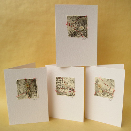 Red thread on collagraph cards