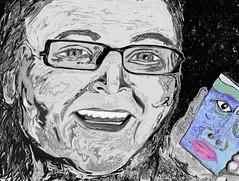 Self Portrait (Gila Mosaics n'stuff) Tags: portrait bw selfportrait art pen artist artrage gila greyscale