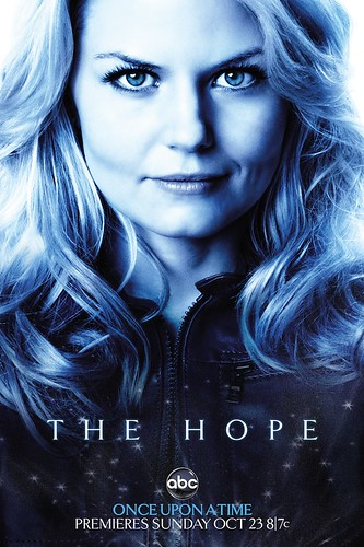 Promotional poster for ABC's new drama, Once Upon A Time. A Close up shot of Emma Swan, a white woman with blonde hair, played by Jennifer Morrison.