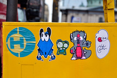 this crew is deffo up to no good! (damonabnormal) Tags: street city november urban streetart art philadelphia graffiti nikon sticker stickerart stickers streetphotography urbanart pa dash philly wtf graff phl 215 slaps urbanite stickergraffiti 2011 ticky d90 citystickers bosko philadelphiastreetart urbanartists tickytock ceito boskox