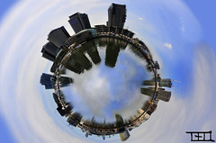 What if Melbourne had a lake ;) (Teo Morabito) Tags: blue sky lake reflection water beautiful clouds contrast photoshop buildings picture lac teo australia melbourne 360 mini most round planet universe own australie  morabito mbpictures blinkagain photosteomorabitocom wwwphotosteomorabitocom wwwteomorabitocom