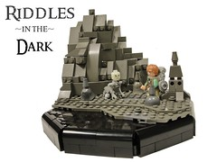 Riddles in the Dark (Blake's Baericks) Tags: mountain lake castle classic water river rocks lego time under lakes ground lord lotr rings gollum ccc blake hobbit bilbo baggins ix riddle goblins baer
