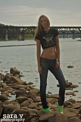 laurel and the kennebec. (365daysofsarav) Tags: river model rocks waterfront augusta midriff uploadedviaflickrqcomgirl