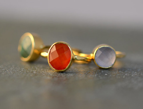 18k gold vermeil emerald carnelian and chalcedony rings