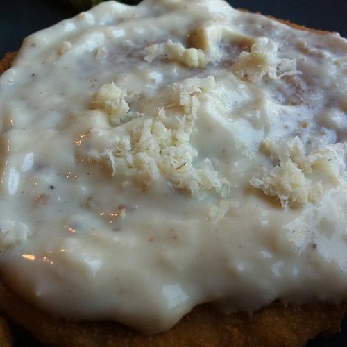 Chik patties in horseradish cream sauce
