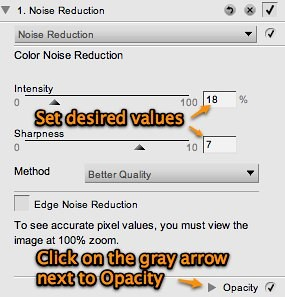 Set desired parameter values and click on gray arrow next to opacity