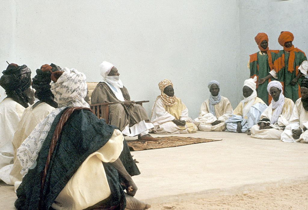 Elite bodyguards of the Emir of Katsina attending a morning greeting ceremony, Katsina, Nigeria. [slide] 1959. eepa_01381