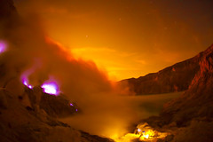 Toxic beauty (zoomion) Tags: blue brown lake hot toxic yellow night clouds danger sunrise indonesia fire volcano asia smoke acid gas ring fullmoon burn crater sulfur ph gases bluefire ijen banyuwangi caledera