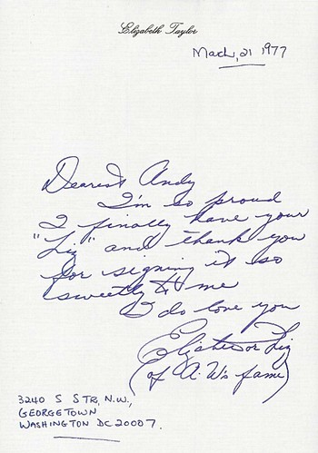 Elizabeth Taylor note to Andy Warhol via letters of note